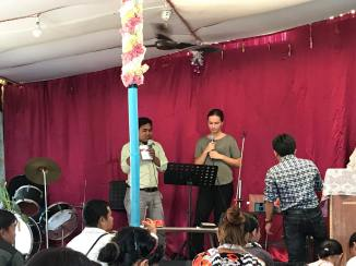 I got the opportunity to share during service in Damak